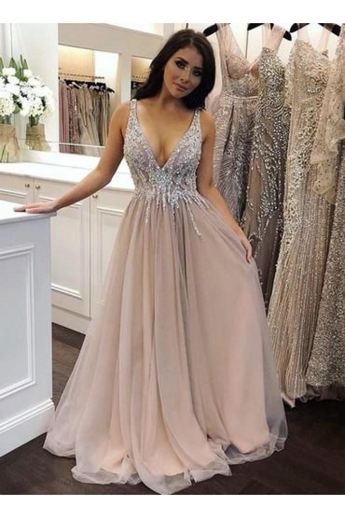 A-Line Beaded V-Neck Long Prom Dress Formal Evening Dresses 601442