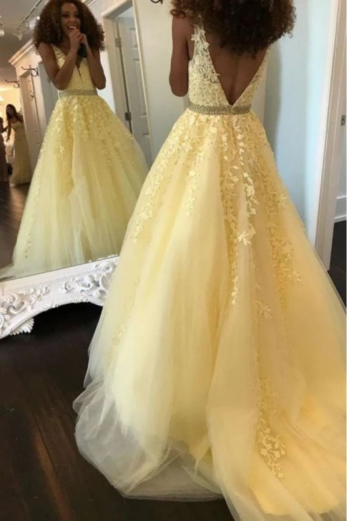 A-Line Beaded Lace Appliques V-neck Long Prom Dress Formal Evening Dresses 601444
