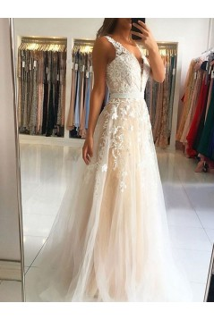 A-Line V-Neck Lace Appliques Long Prom Dress Formal Evening Dresses 601446