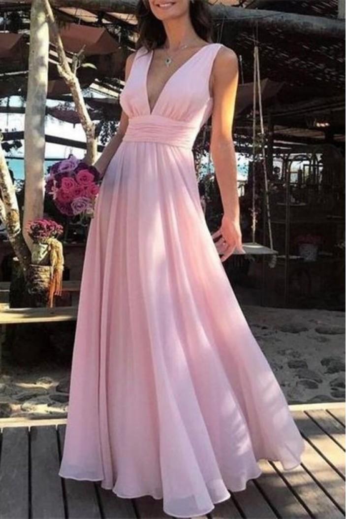 A-Line Long Pink V-Neck Chiffon Prom Dress Formal Evening Dresses 601448