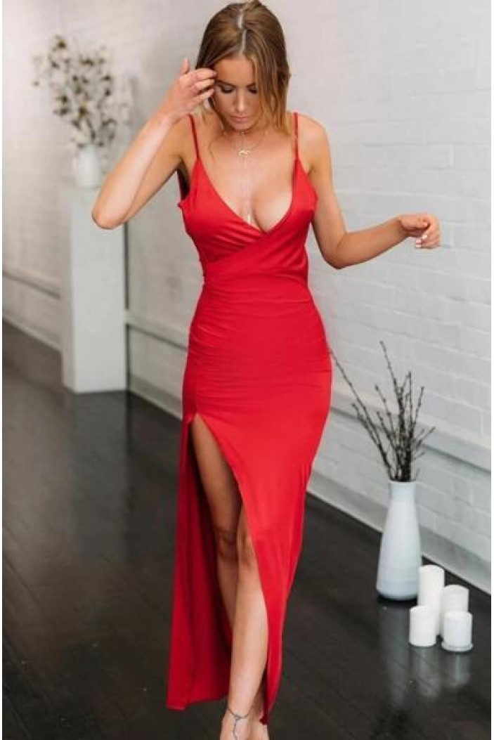 Sexy Spaghetti Straps Long Red Prom Dress Formal Evening Dresses 601450