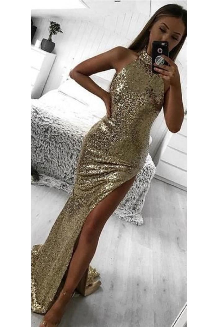 Mermaid Sequins Long Prom Dress Formal Evening Dresses 601452