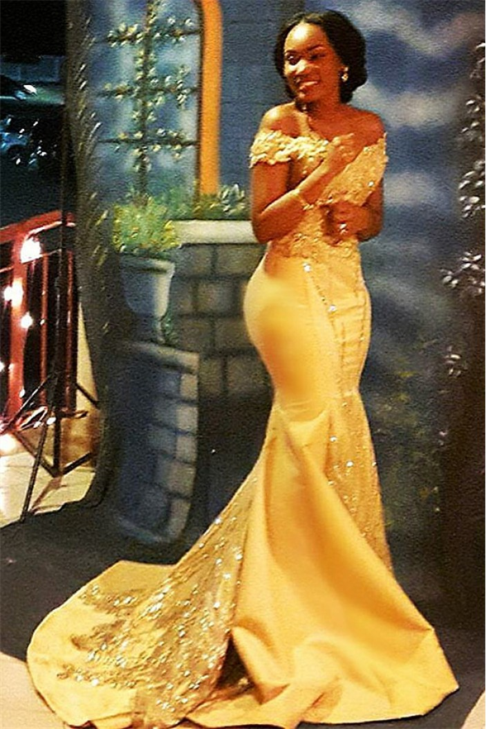 Mermaid Off-the-Shoulder Long Yellow Prom Dress Formal Evening Dresses 601456
