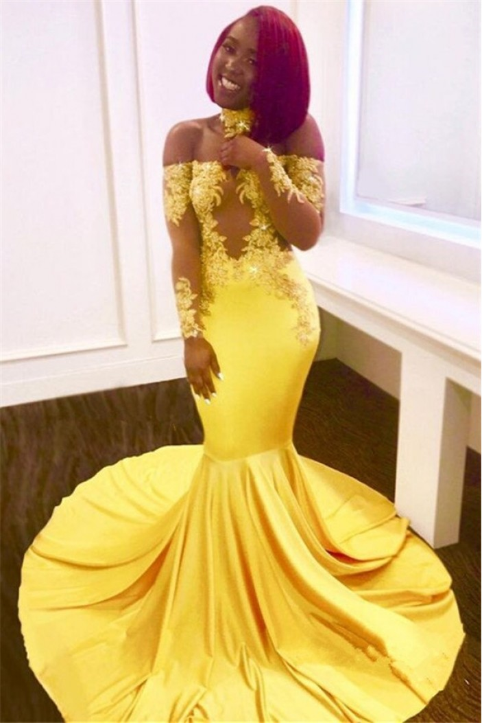 Mermaid Off-the-Shoulder Long Sleeves Yellow Lace Prom Dress Formal Evening Dresses 601457