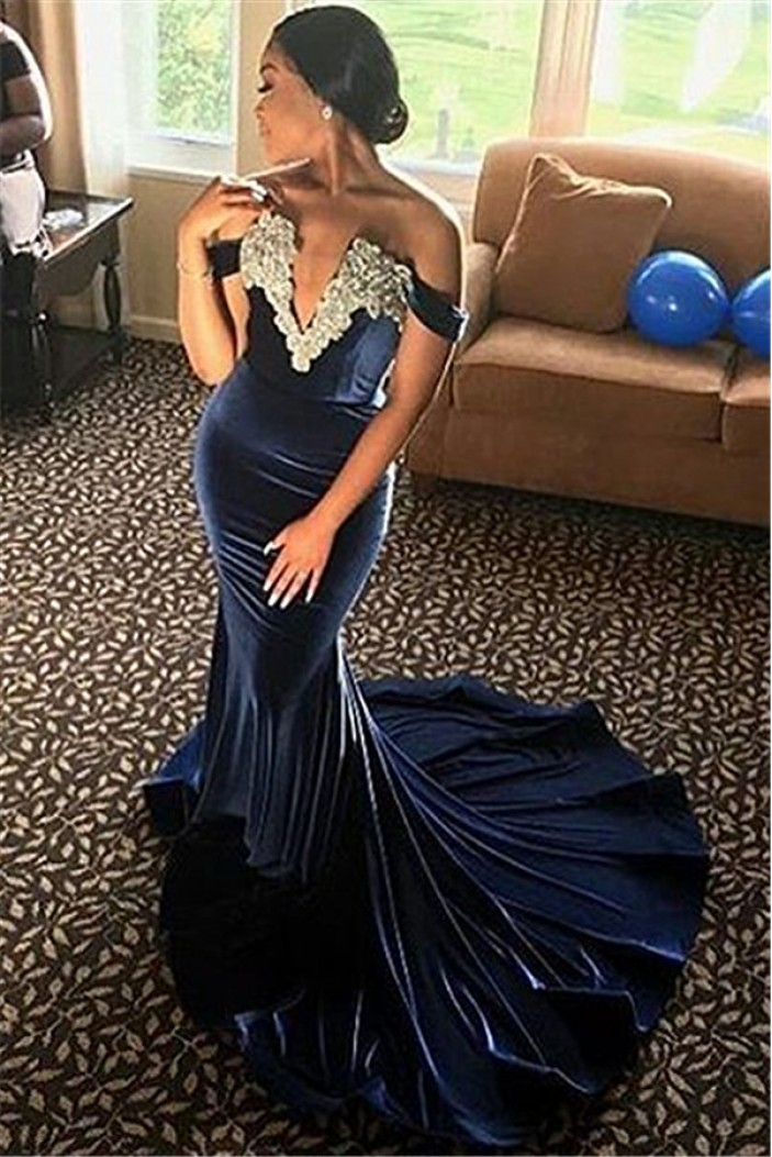 Mermaid Off-the-Shoulder V-Neck Long Sleeves Yellow Lace Prom Dress Formal Evening Dresses 601458