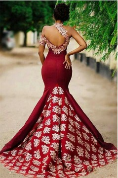 Mermaid Lace Appliques Long Prom Dress Formal Evening Dresses 601460