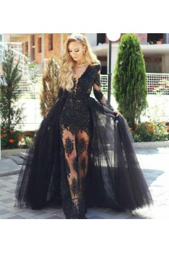 Lace and Tulle V-Neck Long Black Prom Dress Formal Evening Dresses 601463