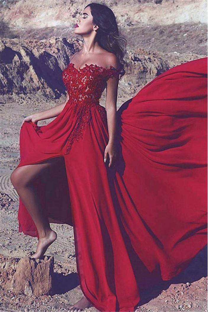 A-Line Off-the-Shoulder Lace Chiffon Long Red Prom Dress Formal Evening Dresses 601466
