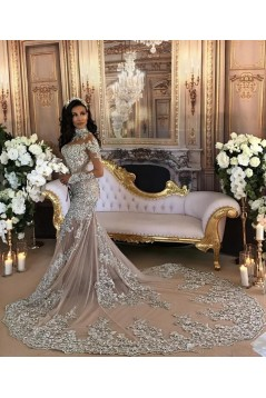 Mermaid Lace Long Sleeves Prom Dress Formal Evening Dresses 601467