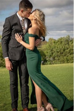 Mermaid Lace Off-the-Shoulder Long Prom Dress Formal Evening Dresses 601478