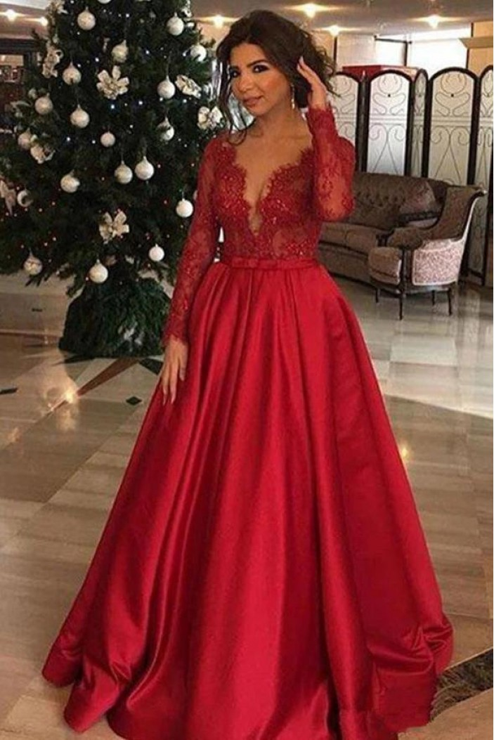 A-Line Long Sleeves V-Neck Lace Satin Red Prom Dress Formal Evening Dresses 601482