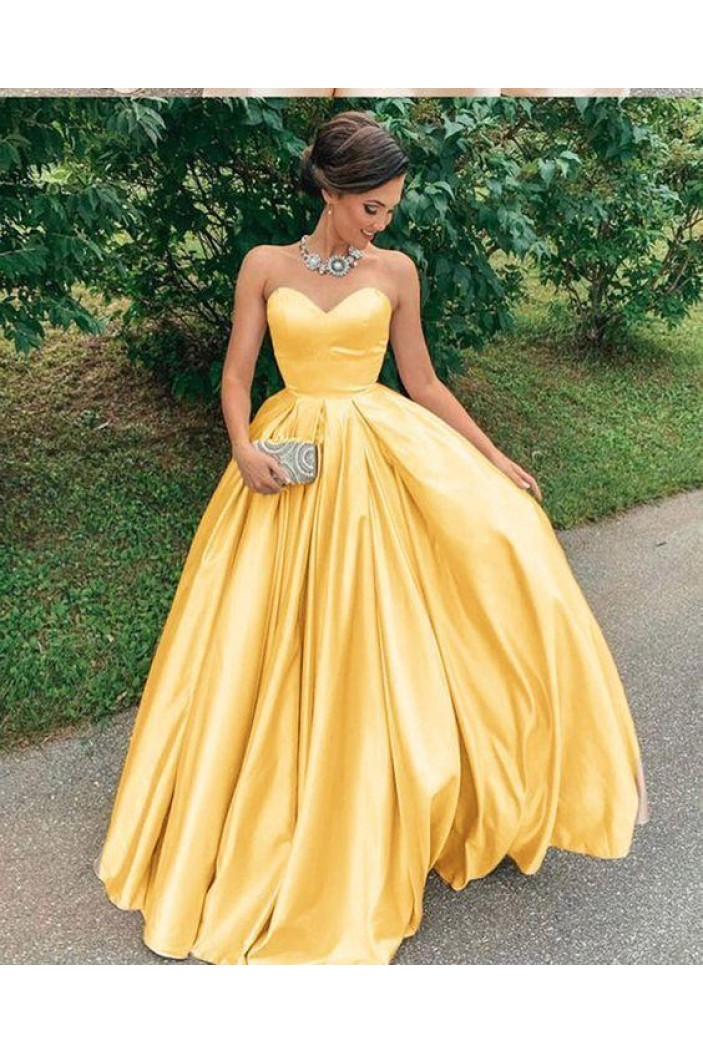Ball Gown Sweetheart Satin Long Prom Dress Formal Evening Dresses 601483