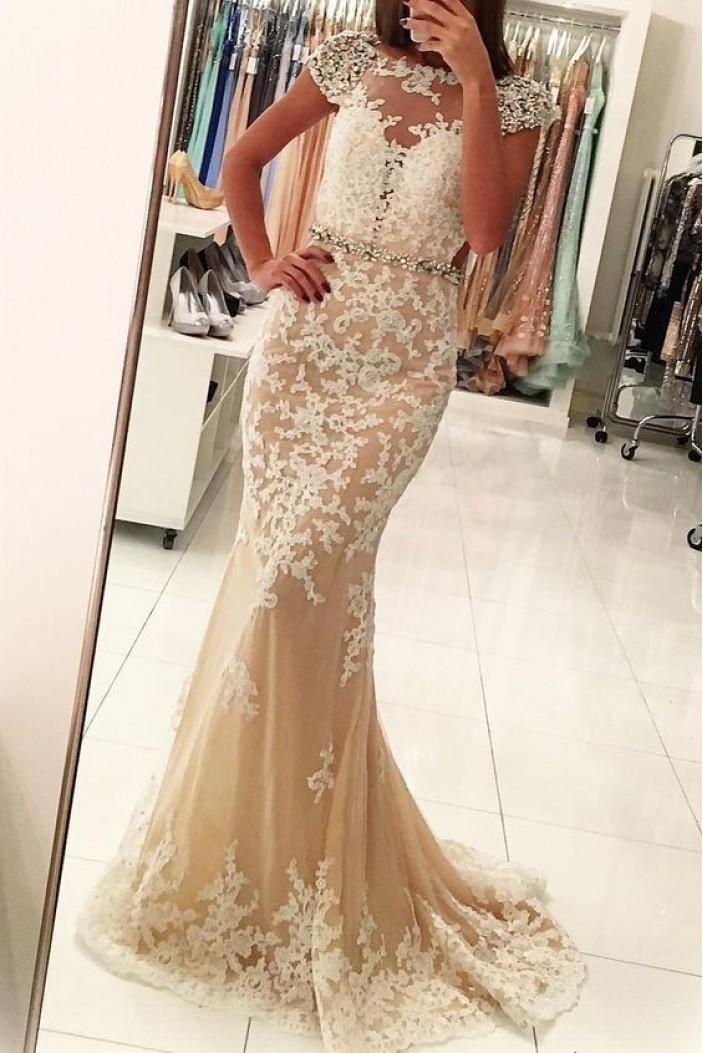Mermaid Beaded Lace Long Prom Dress Formal Evening Dresses 601484