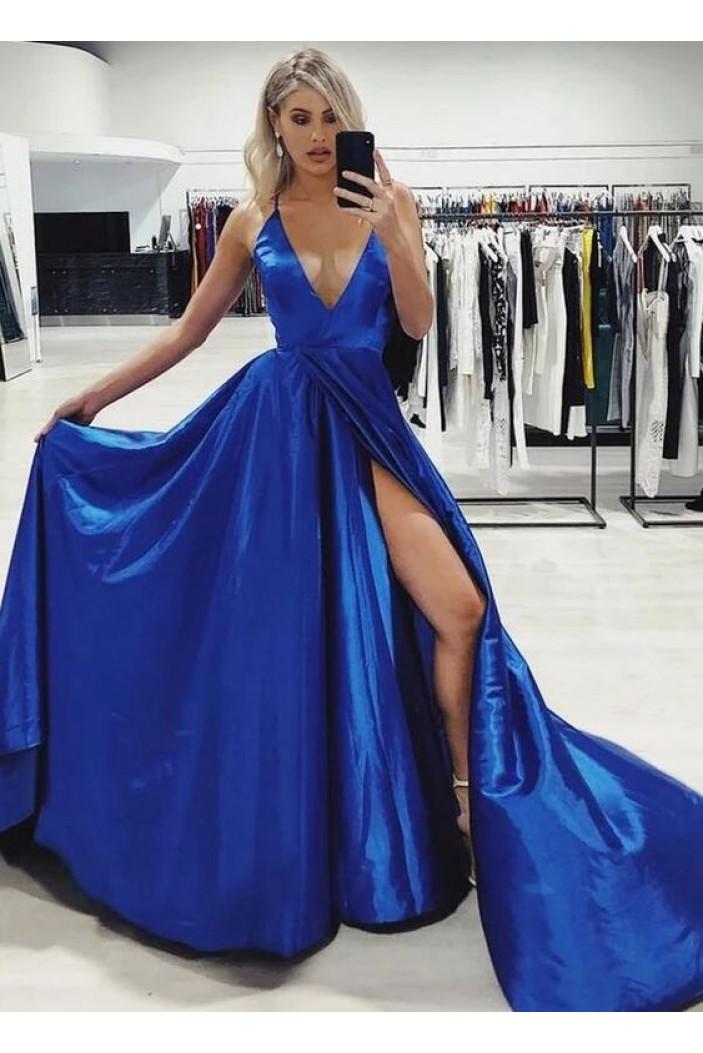 A-Line V-Neck Long Prom Dress Formal Evening Dresses 601486