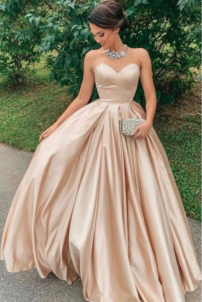 Ball Gown Sweetheart Satin Long Prom Dress Formal Evening Dresses 601487