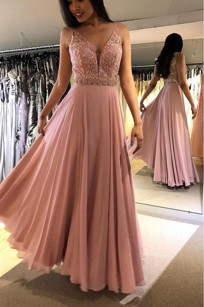 A-Line Beaded Lace Chiffon Long Prom Dress Formal Evening Dresses 601488