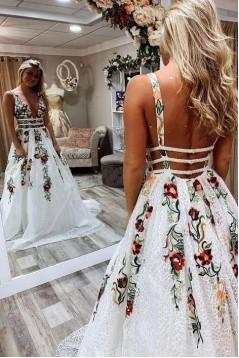 Elegant A-Line V-Neck Long Prom Dress Formal Evening Dresses 601491