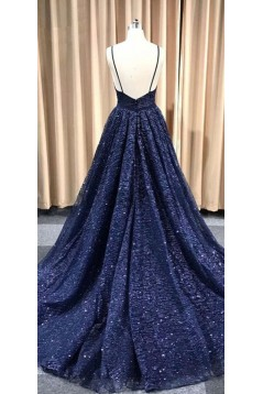 A-Line Sparkling V-Neck Long Prom Dress Formal Evening Dresses 601494