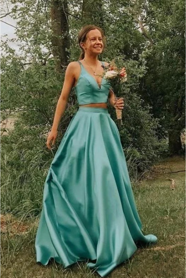 A-Line Two Pieces Long Prom Dress Formal Evening Dresses 601499