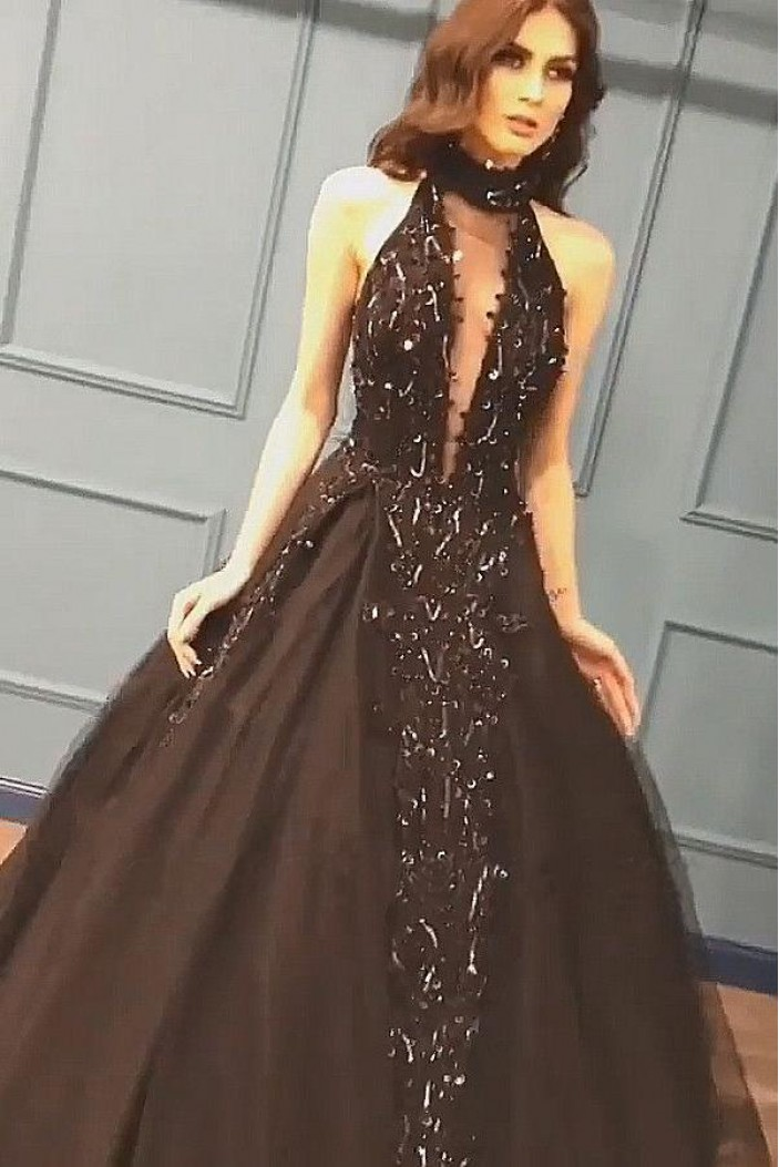 Ball Gown Deep V-Neck Long Prom Dress Formal Evening Dresses 601500