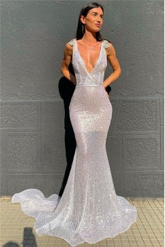 Mermaid V-Neck Sparkling Long Prom Dress Formal Evening Dresses 601501