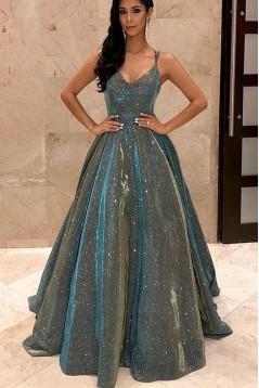 A-Line V-Neck Sparkling Long Prom Dress Formal Evening Dresses 601504