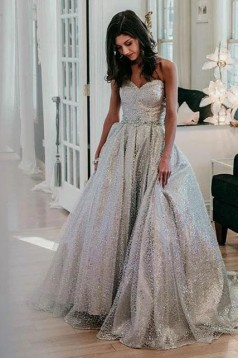 Ball Gown Sweetheart Sequins Long Prom Dress Formal Evening Dresses 601505
