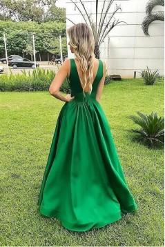A-Line V-Neck Long Prom Dress Formal Evening Dresses 601512