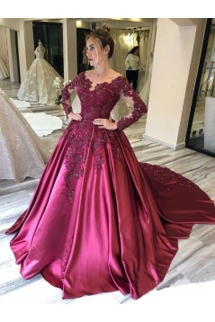 Ball Gown Long Sleeves Lace Long Prom Dress Formal Evening Dresses 601513