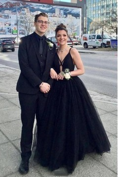 A-Line Long Black Tulle Prom Dress Formal Evening Dresses 601514