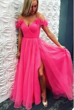 A-Line V-Neck Long Prom Dress Formal Evening Dresses 601515