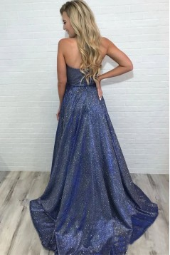 A-Line V-Neck Sparkling Long Prom Dress Formal Evening Dresses 601518