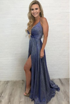 A-Line V-Neck Sparkling Long Prom Dress Formal Evening Dresses 601518
