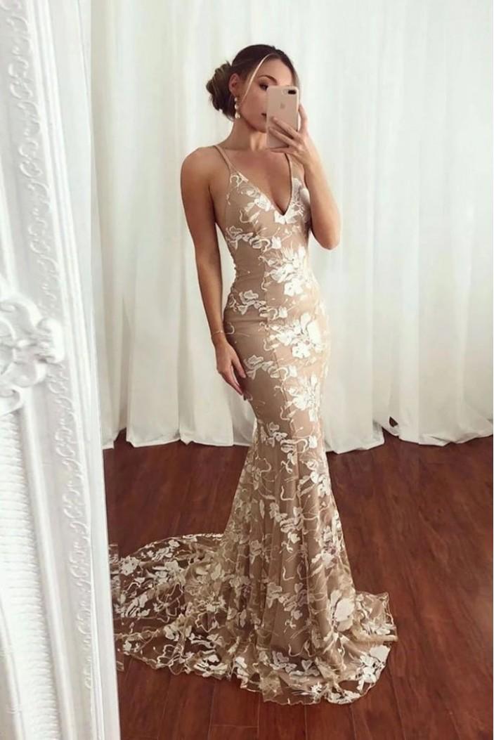Mermaid V-Neck Long Prom Dress Formal Evening Dresses 601523
