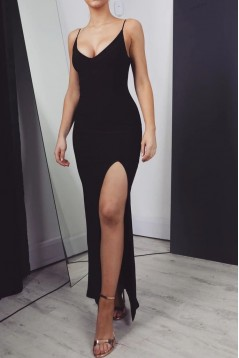 Long Black Simple Prom Dress Formal Evening Dresses 601526