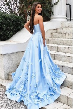 A-Line Strapless Long Prom Dress Formal Evening Dresses 601527