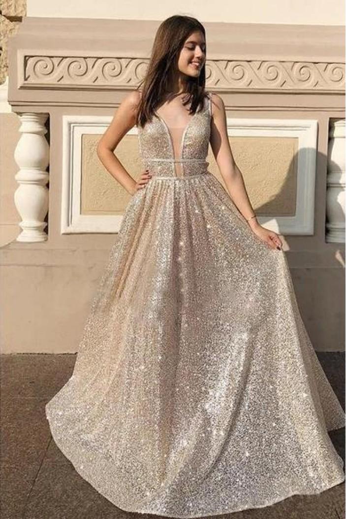 A-Line Sparkling Long Prom Dress Formal Evening Dresses 601529