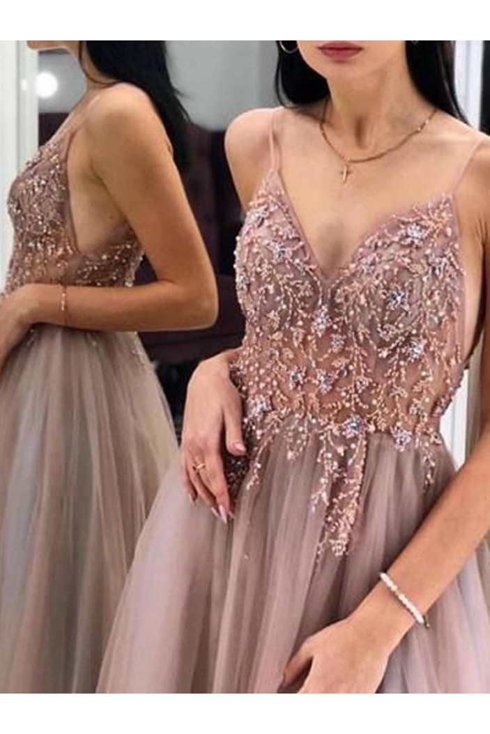 A-Line Beaded Long Prom Dress Formal Evening Dresses 601533