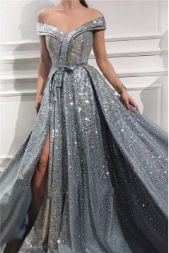A-Line Off-the-Shoulder Sparkling Long Prom Dress Formal Evening Dresses 601536