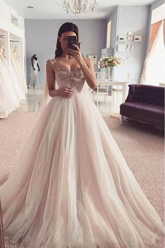 A-Line Tulle Long Prom Dress Formal Evening Dresses 601537