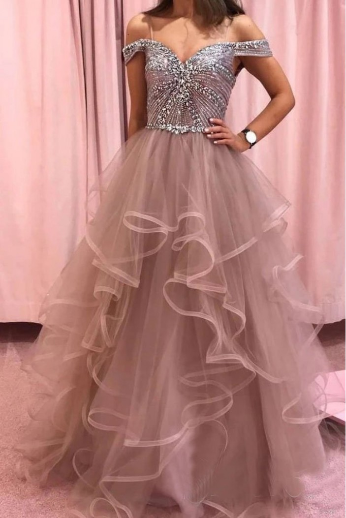 A-Line Beaded Tulle Off-the-Shoulder Long Prom Dress Formal Evening Dresses 601538