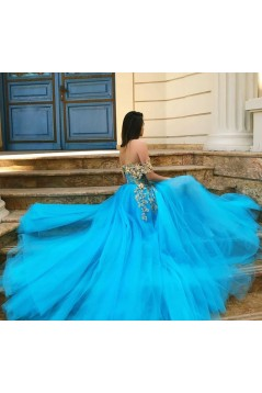 A-Line Lace Tulle Off-the-Shoulder Long Prom Dress Formal Evening Dresses 601540