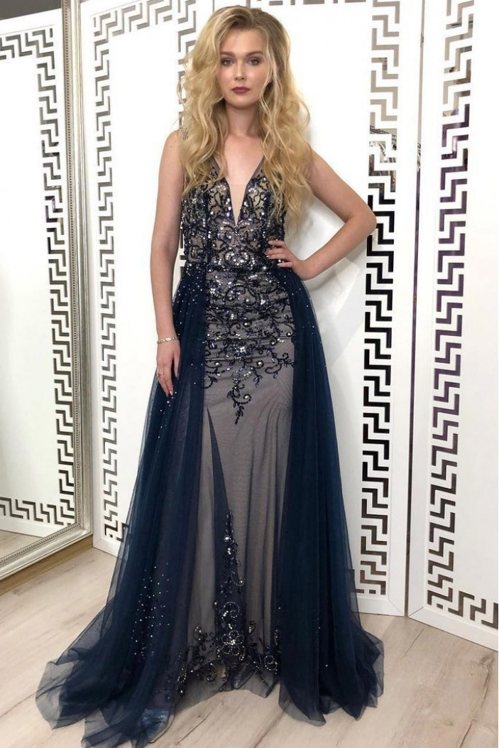Beaded Tulle Long Prom Dress Formal Evening Dresses 601543