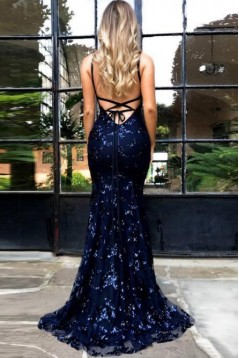 Mermaid Lace V-Neck Long Prom Dress Formal Evening Dresses 601544