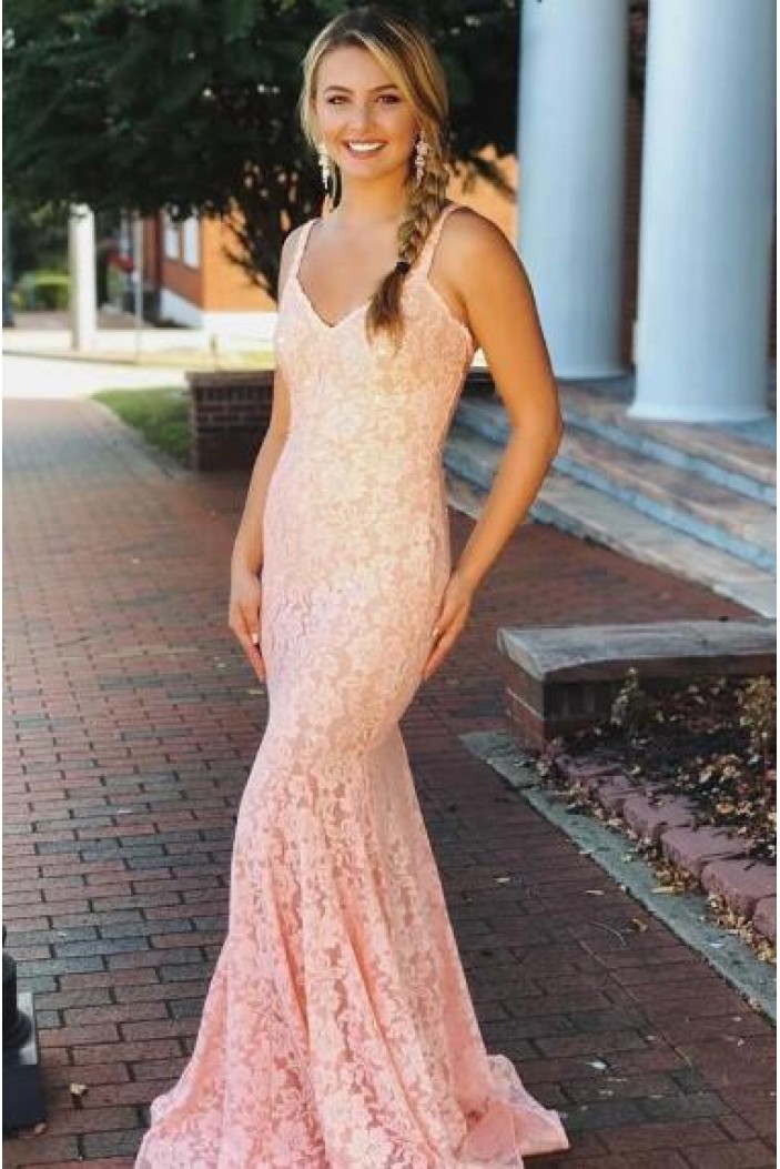 Mermaid Lace V-Neck Long Prom Dress Formal Evening Dresses 601549