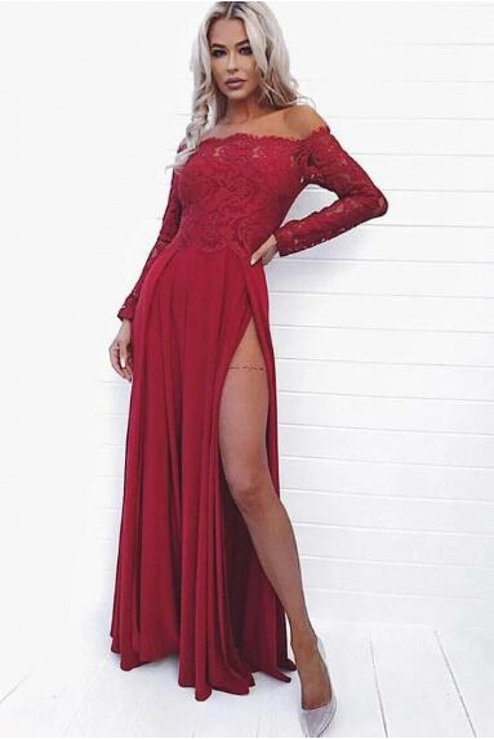 Lace and Chiffon Long Sleeves Prom Dress Formal Evening Dresses 601550