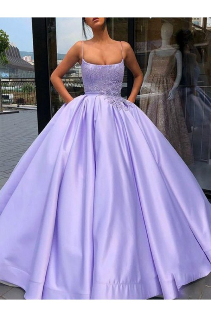 Ball Gown Satin Lace Long Prom Dress Formal Evening Dresses 601553