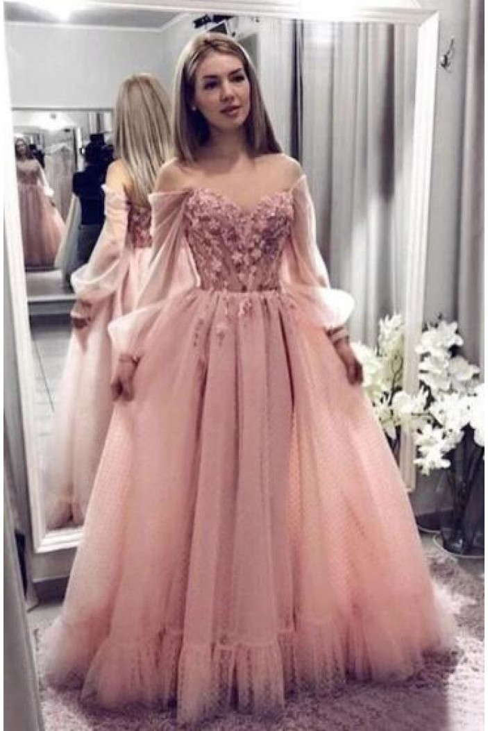 A-Line Tulle Long Prom Dress Formal Evening Dresses 601554