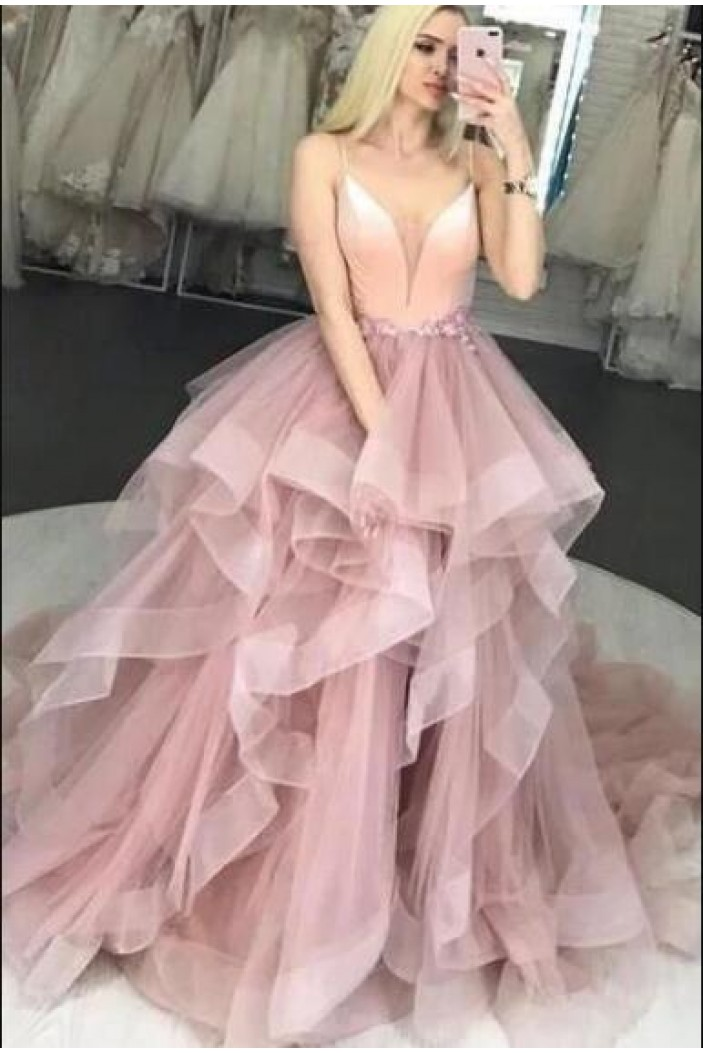 Tulle Ball Gown Long Prom Dress Formal Evening Dresses 601556
