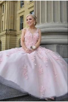 A-Line Lace Tulle V-Neck Long Prom Dress Formal Evening Dresses 601557